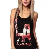 LA Loving Racer Back Tank @ Cicihot Top Shirt Clothing Online Store: Dress Shirt,Sexy Womens Shirt,T Shirts,Corset Dress,White T Shirt,Girl T Shirt,Short sleeve top