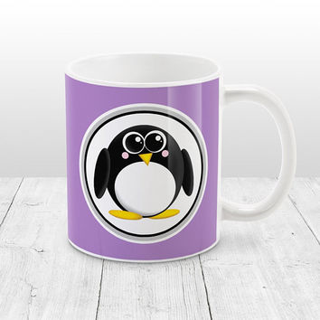 Adorable Penguin Mug - Purple Background - Cute Penguin Cartoon Illustration, Purple Penguin Mug, Purple Mug - 11oz or 15oz - Made to Order