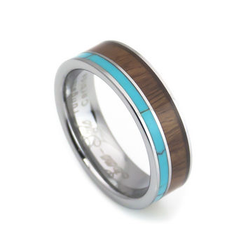 Turquoise Hawaii KOA Inlay tungsten Wedding rings for men and women-6mm width