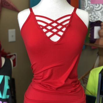 Red adjustable strappy tank