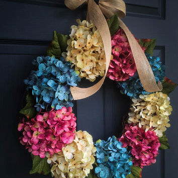 Summer Hydrangea Wreath - Spring Wreaths - Hydrangeas Wreath - Blue Hydrangeas - Beach House Decor - Lake House Decor - Housewarming Gift