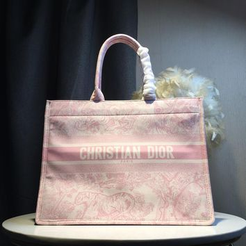 Kuyou Gb5988 Dior Pink Book Tote Bag In Embroidered Canvas 41*14*32cm