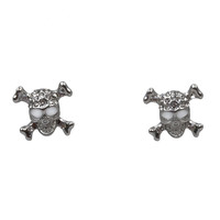 Silver Skull Crystal Post Earrings