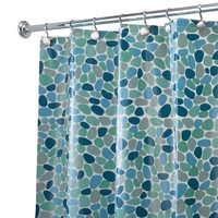 "InterDesign River Rockz PVC-Free PEVA Shower Curtain, 72"" x 72"" - Blue"