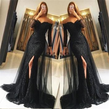 Evening Dress Black Prom Dresses Long Sleeves Off the Shoulder