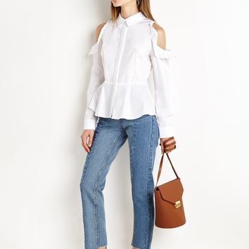 Shoulder Cut out White Peplum Shirt