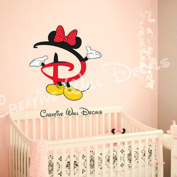 Full color Wall Decal Vinyl Sticker Decals Art Decor Design Disney Custom Baby Letter Mice Bow Minnie Mouse Kid Children Nursery (rcol66)