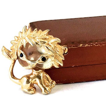 Lion Jelly Belly Brooch, P & M Paris, Lucite, Gold Tone, Figural Animal,  Designer Signed, Vintage 1980s, Collectible, Rare Gift For Her