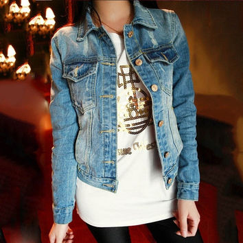 NEW Women's Cotton Blue Jeans Denim Jacket Long Sleeve Fashion Coat Outerwear = 1929605380