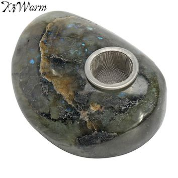 KiWarm 1PC 100% Natural Labradorite Quartz Crystal Pipe Stone with Hole Healing Rainbow Crystal Pipe Gemstone DIY Decor Gift