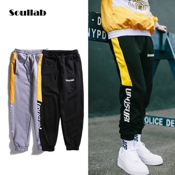 soullab color contrast quality men male boy bottoms joggers pants side stripe logo sweat sweatpants casual hiphop trousers grey