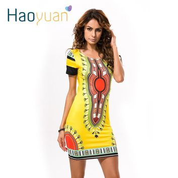 HAOYUAN Summer Dashiki Dress for Women 2018 Casual Mini African Print Sundress Ladies African femme Clothing Indian Dresses