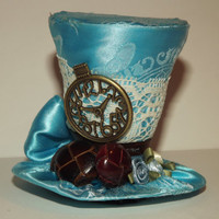 Tiny Top Hat- FREE SHIPPING-Mini top hat- Light blue tiny top hat- Tiny top hat with clock- Chocolate brown accents and vintage lace