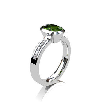 Cushion cut Peridot ring, engagement ring, diamond engagement, green, peridot, bezel, solitaire, unique, rose gold, white, yellow