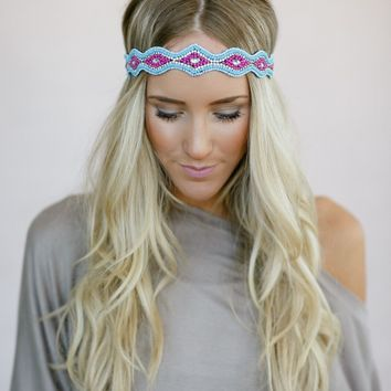 Psychedelic Beaded Headband