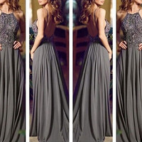 2014 Backless Gray Long Chiffon Bling Prom Dress/Prom Gown/Evening Dress/Evening Gown/Custom made dress/Formal Dress/Graduation Dress
