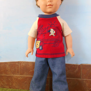 18 Inch Boy Doll Clothes, Fireman T-shirt and Blue Jeans, Short Sleeved Red Fire Chief T shirt and Blue Jeans, 18 Inch Doll Clothes