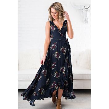 Adrienne Floral Maxi Dress (Navy)