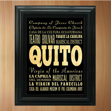 Quito, Ecuador, Typography Art Poster/ Bus / Transit / Subway Roll Art 8X10-Quito's Attractions Wall Art Decoration-LHA-395