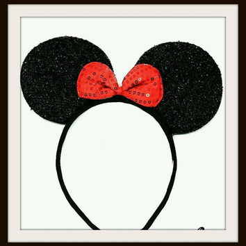 Minnie Mouse Ears Headband Black Ears Red Sequin Bow Mickey Mouse Ears, Disneyland Disney World, Holiday Mouse Ears