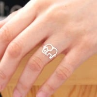 Cute 925 Sterling Silver Elephant Ring