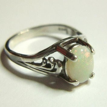 Opal Ring Art Deco Genuine Australian White Opal