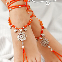 Boho Barefoot Sandal. Orange Gypsy Shoes. Mandala Barefoot sandals. Anklet