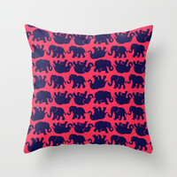 Elephants on Pink Throw Pillow by Uramarinka