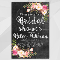 Watercolor Bridal Shower Invitation, Chalkboard personalized invitation, diy wedding, etsy Bridal Shower invitation XB020c-4