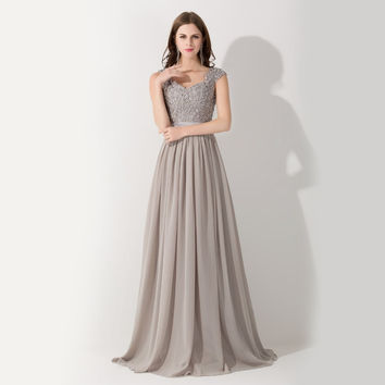 New Arrival Formal A-Line Grey Cap Sleeve Chiffon Evening Dresses Long 2016 Sexy See Through Party Dress Robe De Soiree Longue