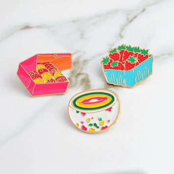 Cute Cartoon Strawberry Cookies Rainbow Bowl Pins Brooches Denim Jacket Buckle Shirt Badge Gift for Kids girls Food jewelry