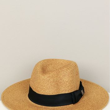 Bow Straw Hat Black