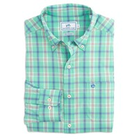 Barrier Key Plaid Intercoastal Performance Shirt in Offshore Green by Southern Tide