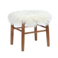 Faux Fur Accent Stool - White - Threshold™
