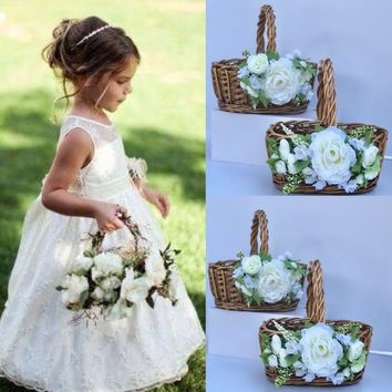 Flower girl Basket Moss Basket Twig Basket Rustic Basket Small Flower Girl Basket Vintage Wedding Rustic wedding decor etsy