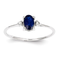 14k White Gold Diamond & Blue Sapphire September Birthstone Ring