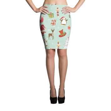 Elves and Animals Pattern Cut & Sew Pencil Skirt