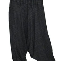 Aladdin Hippy Harem Pants Adjustable Elastic Waist 100 % Stripe Cotton. (Black)