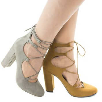 Makowa By Delicious, Round Toe Ghillie Lace Up Block Heeled Sandals