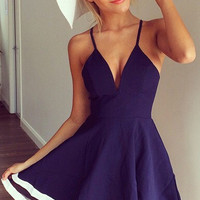 Shoulder Strap Chiffon Stitching Deep V-neck Mini Dress