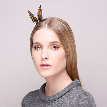 Black & Gold Alice Band, Alice Band With Ears , Christmas Headpiece , Hair Accessoire