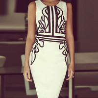 White Printed Sleeveless Bodycon Dress