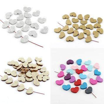 Pick Color 20pcs Wooden Heatr Spacer Beading Beads for Baby Bracelet Necklace DIY Pacifier Clip Crafts 26x18mm Wood Bead