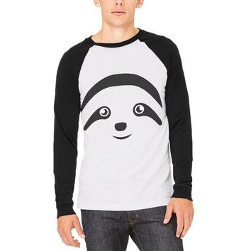 LMFCY8 Cute Sloth Face Mens Long Sleeve Raglan T Shirt