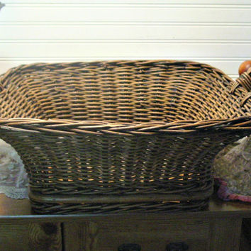 Vintage Wicker Basket - Wood Slats and Handles - Large Basket - Farmhouse Decor - Rustic Storage - Wedding Basket