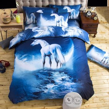 2017 new 3D Bedding Sets unicorn Universe Outer Space Quilt Duvet Cover Bed Sheet Blue Galaxy New 4/3pcs Pillowcase Twin Queen