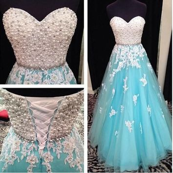 Fashion Pearl Beaded Long Party Prom Evening Ball Pageant Dresses New Custom