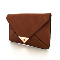 Ava Brown or Taupe Envelope Clutch or Ipad Case