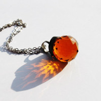 faceted crystal summer pendant amber sphere ball transparent clear ball sphere vintage retro rustic beadwork statement pendant necklace