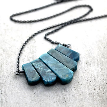 Art Deco Apatite Gemstone Teal Statement Necklace, Ocean Aqua Blue Green Apatite Stone Oxidized Sterling Silver Fan Necklace - Gatsby